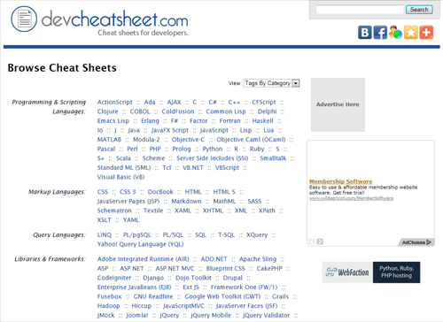 Сайт Сайт DevCheatSheet.com