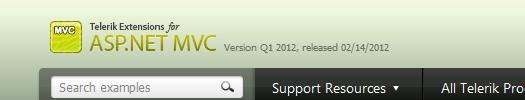 Демонстрационный сайт набора элементов управления Telerik Extensions for ASP.NET MVC Q1 2012