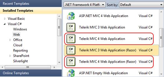 Шаблоны проектов, основанные на ASP.NET MVC 4, в Visual Studio 2010