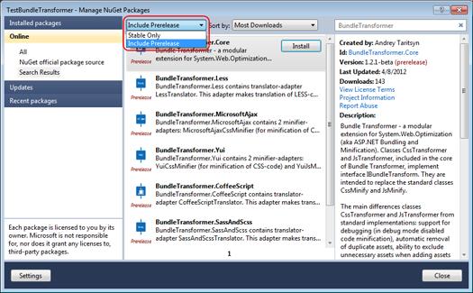 Отображение предварительных версий библиотек в диалоговом окне Manage NuGet Packages