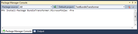 Установка NuGet-пакета BundleTransformer.MicrosoftAjax с помощью Package Manager Console