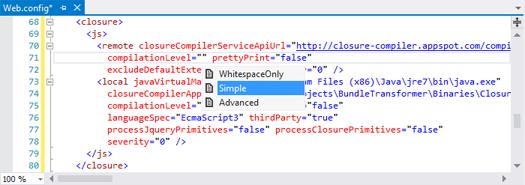 Поддержка IntelliSense при редактировании конфигурационной секции bundleTransformer в файле Web.config