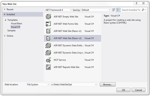 Создание сайта ASP.NET Web Pages в Visual Studio 2012