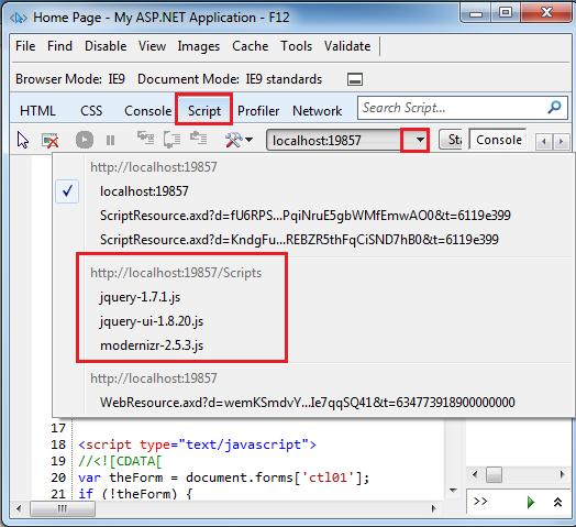 Вкладка Script F12 Developer Tools