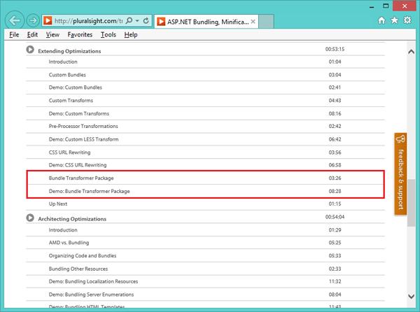 Фрагмент оглавления обучающего курса «ASP.NET Bundling, Minification & Resource Optimization» на сайте компании Pluralsight