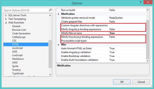 Настройки HTML-минимизации в Web Essentials 2013 (версия 2.3.4.1)