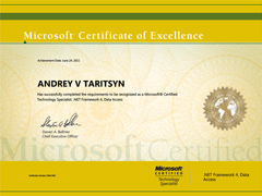 сертификат «MCTS: .NET Framework 4, Data Access»